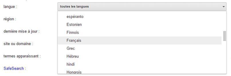 Recherche langue