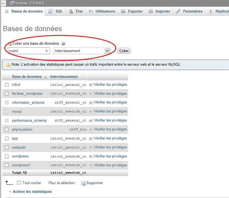Base de données XAMPP
