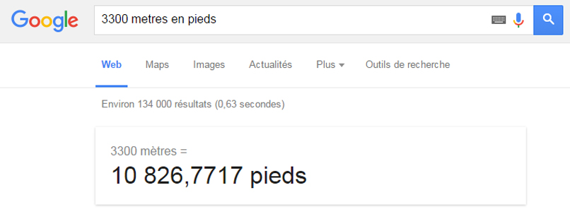 Google convertir distance